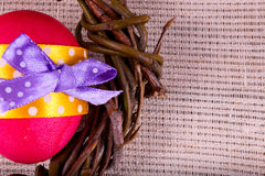 Easter egg with red willow branches Stock Image