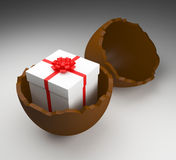 Easter Egg Represents Gift Box And Choc. Easter Egg Showing Gift Box And Presents Stock Images