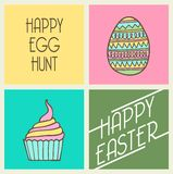 Easter egg retro card. Vector art illustration, background or print Stock Image