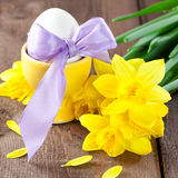 Easter egg with ribbon Stock Photo