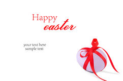 Easter egg with ribbon. Isolated on white background Stock Photography