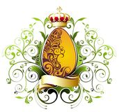 Easter  egg with ribbon and crown Royalty Free Stock Image