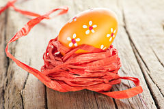 Easter egg and ribbon decoration Royalty Free Stock Photography