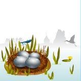 Easter egg river Stock Image