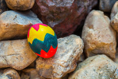 Easter egg on the rock Stock Images