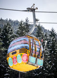 Easter egg ropeway. RUZOMBEROK, SLOVAKIA- APRIL 4: Cableway during Easter in ski resort Malino Brdo on April 4, 2015 in Ruzomberok Royalty Free Stock Image