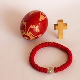 Easter egg, rosary and cross Stock Photography
