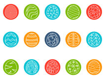 Easter egg round button icons set vector illustration