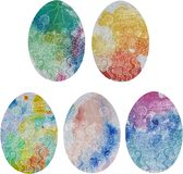 Easter egg rural 5 white. Drawing with a set of five Easter eggs decorated with a vector drawing of a rural landscape in tender white lines and watercolor spots Royalty Free Stock Photography