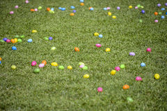 Easter Egg Rush. Colorful plastic easter eggs in green grass waiting for egg rush Royalty Free Stock Photos