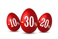 Easter egg sale. Happy Easter eggs 3D template isolated on white background. 10, 20, 30 percent off. Design banner. Poster, promotion decoration, special offer stock illustration
