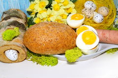 Easter - egg and sausage in white dishware for easter Stock Photos