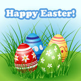 Easter egg set in grass Royalty Free Stock Photography