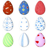 Easter egg Set. Painted. 3D object. Render. Easter Holiday. Royalty Free Stock Image