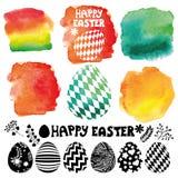 Easter egg set.Watercolor  maker Royalty Free Stock Photos