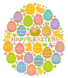 Easter egg shape with Easter eggs, bunnies and chicks. Stock Image