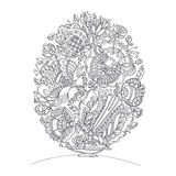 Easter egg shape zentangle image for adult coloring. Stock Image