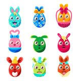 Easter Egg Shaped Easter Bunnies Colorful Girly Sticker Set Of Religious Holiday Symbols. Adorable Rabbits As Christian Holiday Traditional Decoration Stock Photos