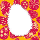 Easter egg-shaped frame with painted eggs Stock Image