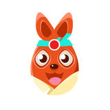 Easter Egg Shaped Orange Easter Bunny In Kimono Colorful Girly Religious Holiday Symbol. Emoji. Adorable Rabbit As Christian Holyday Traditional Decoration Stock Photo