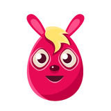 Easter Egg Shaped Pink Easter Bunny With Blond Fringe Colorful Girly Religious Holiday Symbol Emoji. Adorable Rabbit As Christian Holyday Traditional Stock Photography
