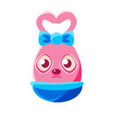 Easter Egg Shaped Pink Easter Bunny With Bow Colorful Girly Religious Holiday Symbol Emoji. Adorable Rabbit As Christian Holyday Traditional Decoration Vector Royalty Free Stock Photos
