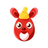 Easter Egg Shaped Red Easter Bunny In Warm Hat Colorful Girly Religious Holiday Symbol. Emoji. Adorable Rabbit As Christian Holyday Traditional Decoration Stock Images