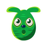 Easter Egg Shaped Scared Green Easter Bunny Colorful Girly Religious Holiday Symbol Emoji. Adorable Rabbit As Christian Holyday Traditional Decoration Vector Royalty Free Stock Photo