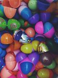 Easter egg shells plastic. Colourful plastic Easter egg shells Stock Images