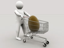 Easter egg within a shopping cart. Made in C4D Stock Photos