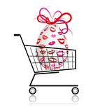 Easter egg  in shopping cart for your design Royalty Free Stock Photo
