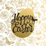 Easter egg sign on gold seamless background of flowers Royalty Free Stock Photography