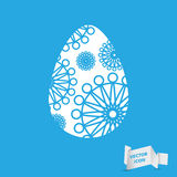 Easter egg sign icon with abstract flowers. Easter tradition sym Stock Image