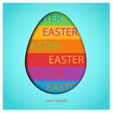 Easter Egg on sky-blue background with colorful spring rainbow and letterings. Red Happy Easter greeting text. Bright  desig. N in paper-cut style Royalty Free Stock Images