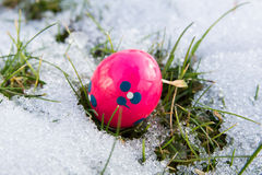 Easter egg in the snow Royalty Free Stock Photography
