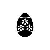 Easter egg solid icon, religion holiday elements. Egg with flowers, a filled pattern on a white background, eps 10 vector illustration