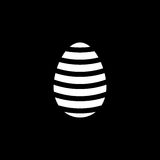 Easter egg solid icon, religion holiday elements,. Egg with lines, a filled pattern on a black background, eps 10 royalty free illustration