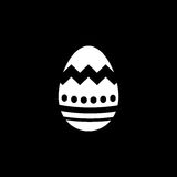 Easter egg solid icon, religion holiday elements. Egg with lines, a filled pattern on a black background, eps 10 royalty free illustration