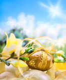 Easter egg on spring background Royalty Free Stock Images