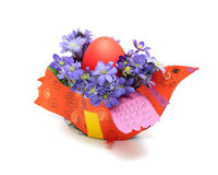 Easter egg with spring flower and bird Royalty Free Stock Image