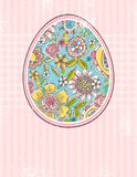 Easter egg with spring flowers, vector stock illustration