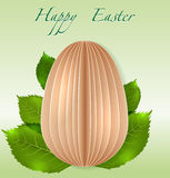 Easter Egg on spring leaves Royalty Free Stock Images