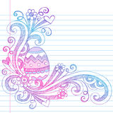 Easter Egg Spring Sketchy Doodles Vector. Hand-Drawn Back to School Easter Egg Spring time Hearts, Swirls, and Flowers Sketchy Notebook Doodles Vector Royalty Free Stock Images