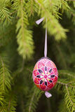 Easter egg 2. Easter egg on spruce   branches Royalty Free Stock Photos