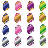 Easter Egg Stickers. A collection of colorful shiny Easter egg shaped stickers Stock Photo