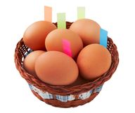 Easter egg with stickers in basket Stock Image