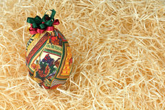 Easter egg on straw Royalty Free Stock Images