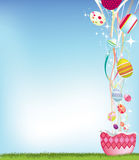 Easter egg and streamer background Royalty Free Stock Images