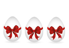 Easter egg tied with ribbon and bow. Empty place for text or ad Stock Image