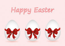 Easter egg tied with ribbon and bow. Empty place for text or ad Stock Images
